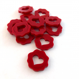 Set of 13 custom red lasercut plastic Love Letter Affection Heart Pieces