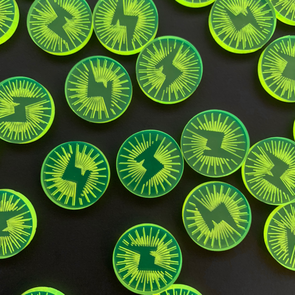 Closeup of Green Energy Tokens