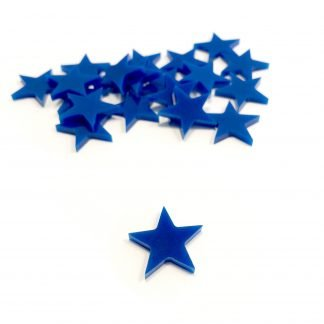 Set of laser cut plastic Blue Victory Star token upgrade for King of New York Board Game