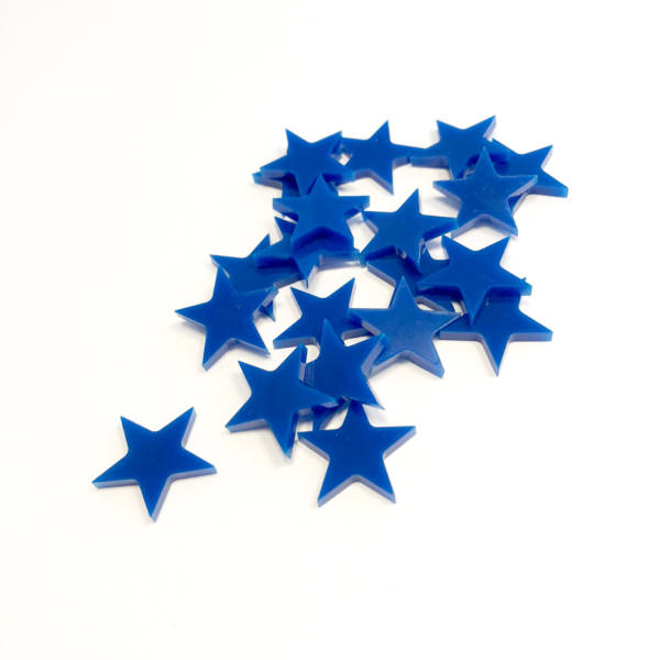 Set of acrylic Blue Victory Star token upgrade for King of Tokyo Board Game