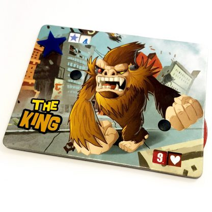 The King card tracker with custom plastic Blue Victory Star token upgrade for King of Tokyo Board Game