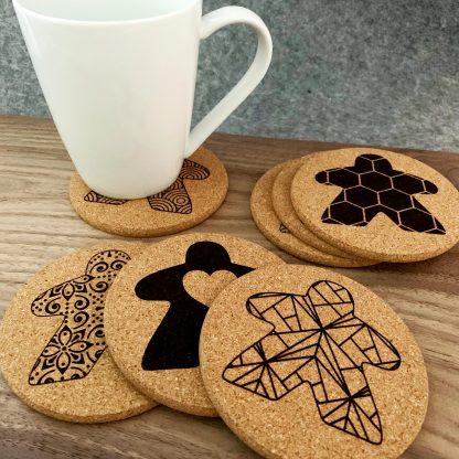 Set of Cork Meeple Board Game Coasters and Mug